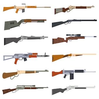 Conjunto de vetores de metralhadoras.