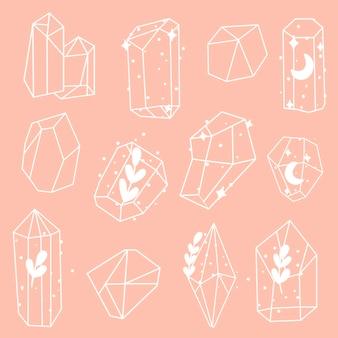 Conjunto de vetores de minerais, cristais, pedras preciosas, diamantes. cristais mágicos com diferentes elementos
