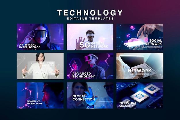 Conjunto de vetores de modelo de banner de tecnologia digital