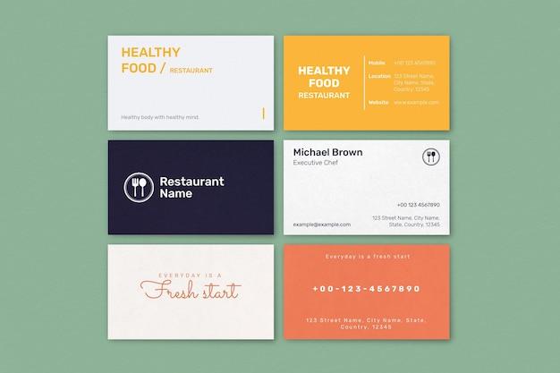 Conjunto de vetores de modelo de cartão de negócio de restaurante