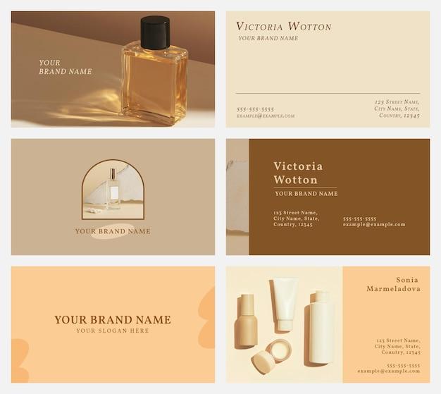 Conjunto de vetores de modelo de cartão de visita cosmético