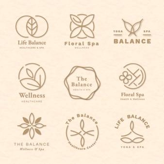Conjunto de vetores de modelo de logotipo de ioga editável para saúde e bem-estar