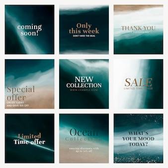 Conjunto de vetores de modelo de mídia social do oceano estético