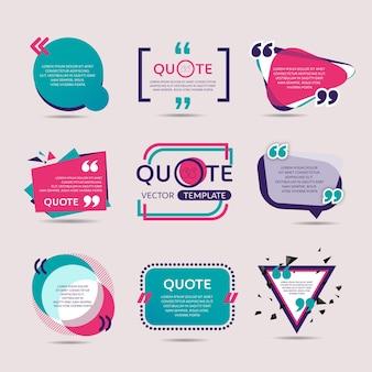 Conjunto de vetores de modelo de texto de citação criativa com fundo colorido