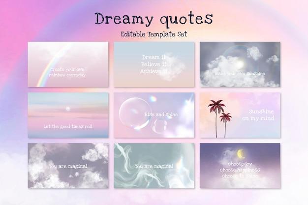 Conjunto de vetores de modelo editável de citação sonhadora