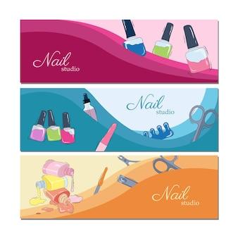 Conjunto de vetores de modelos de banner de publicidade de salão de beleza. ilustração das ações. manicure. cartões de negócios. banners horizontais. modelos de pôsteres brilhantes