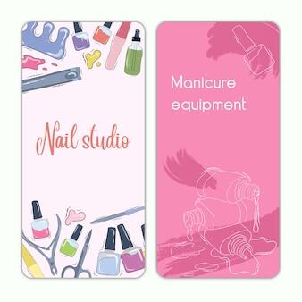 Conjunto de vetores de modelos de banner de publicidade de salão de beleza. ilustração das ações. manicure. cartões de negócios. banners verticais