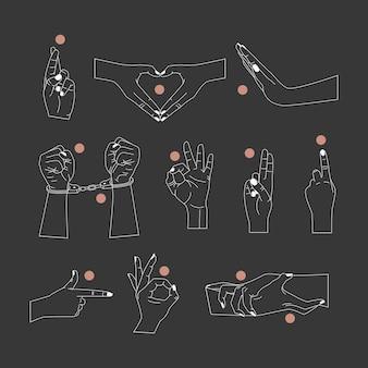 Conjunto de vetores de modelos de design de logotipo abstrato em estilo linear simples mãos gestos mãos