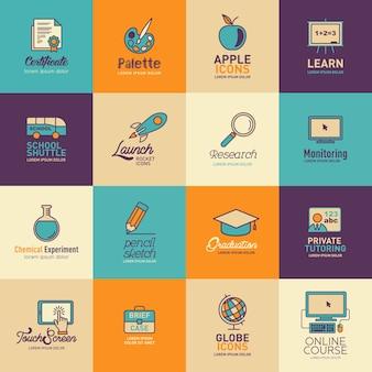 Conjunto de vetores de modelos de logotipos de educação