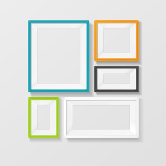 Conjunto de vetores de moldura de imagem colorida