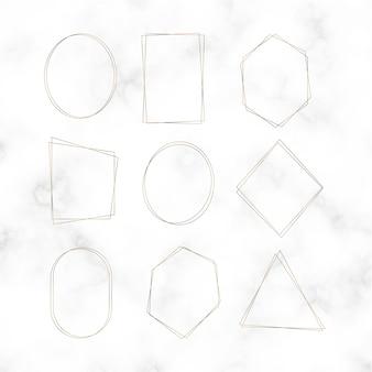 Conjunto de vetores de moldura em branco dourado