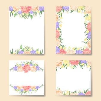Conjunto de vetores de moldura floral