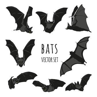 Conjunto de vetores de morcego, ilustração de morcego de halloween