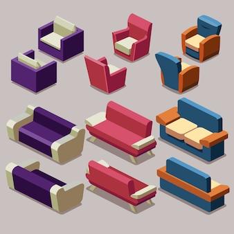 Conjunto de vetores de móveis isométricos de sala de estar. sofá e poltronas. interior do sofá, mobília da poltrona, sofá isométrico e ilustração da poltrona