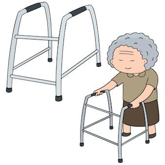 Conjunto de vetores de mulher mais velha andar usando walker