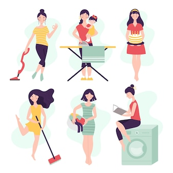 Conjunto de vetores de mulheres em diferentes trabalhos domésticos