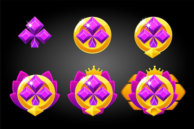 Conjunto de vetores de naipes de jogos de cartas de prêmios de símbolo de clubes. classificação no jogo de pôquer, recompensa pela vitória ..
