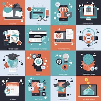 Conjunto de vetores de negócios e tecnologia