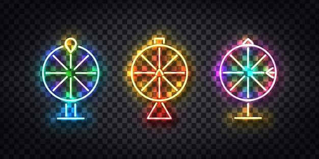 Conjunto de vetores de néon isolado realista da roda da fortuna