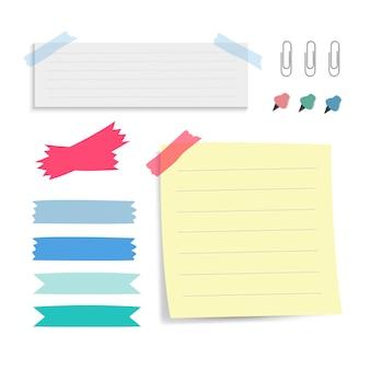 Conjunto de vetores de notas de papel lembrete colorido