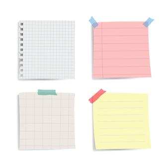 Conjunto de vetores de notas de papel lembrete em branco