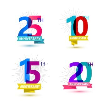 Conjunto de vetores de números de aniversário de design 25 10 15 20 composições de ícones com fitas