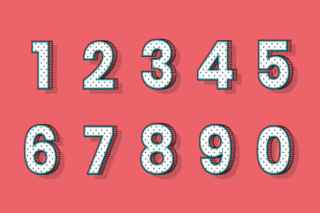 Conjunto de vetores de números de fonte de meio-tom isométrico 0-9