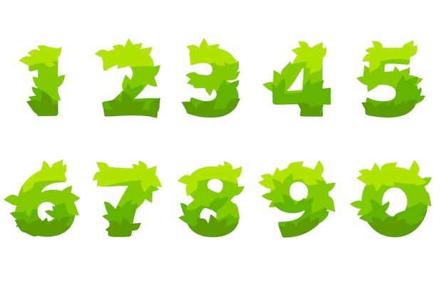 Conjunto de vetores de números dos desenhos animados da grama verde.