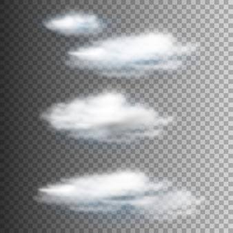 Conjunto de vetores de nuvem isolada realista na transparente