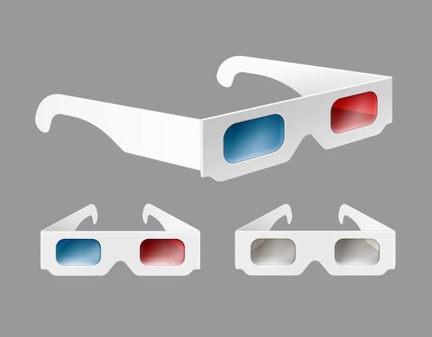 Conjunto de vetores de óculos 3d de papel branco em perspectiva close-up isolado em fundo cinza