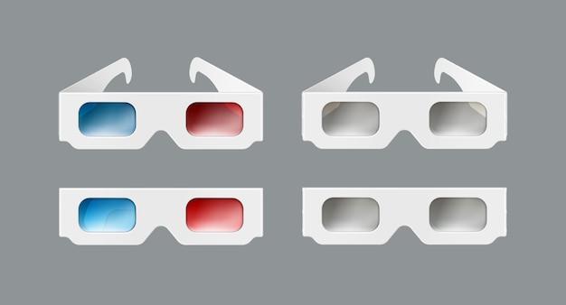 Conjunto de vetores de óculos 3d de papel branco, vista frontal isolada em fundo cinza