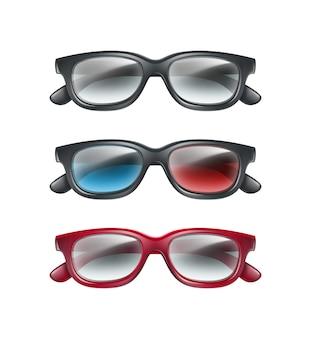 Conjunto de vetores de óculos 3d de plástico preto, vista superior isolada em fundo cinza