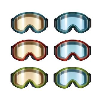 Conjunto de vetores de óculos de snowboard de esqui de cor laranja e azul, vista frontal isolada no fundo branco