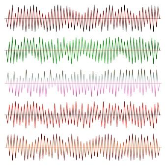 Conjunto de vetores de ondas sonoras. equalizador de áudio. ondas de som e áudio isoladas em fundo preto.