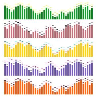Conjunto de vetores de ondas sonoras. equalizador de áudio. ondas de som e áudio isoladas no fundo branco.