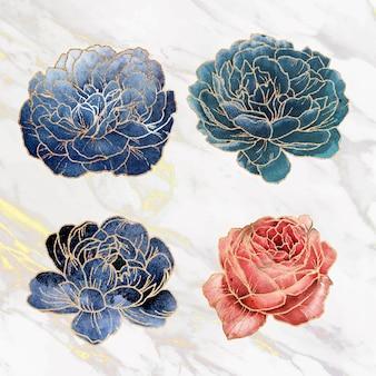 Conjunto de vetores de ornamento de flor dourada