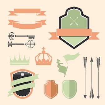 Conjunto de vetores de ornamento de rótulo colorido