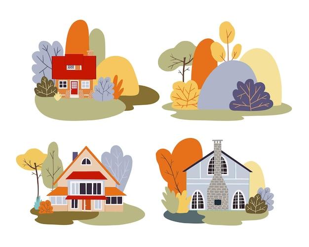 Conjunto de vetores de outono de chalés de aldeia com paisagens de árvores de outono. campo no outono