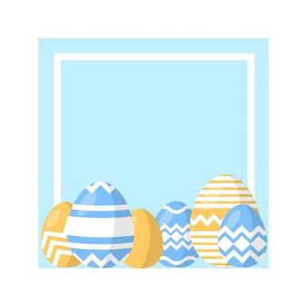 Conjunto de vetores de ovo de páscoa de ovos de páscoa em um quadro