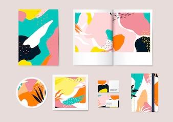 Conjunto de vetores de padrão colorido de Memphis