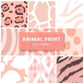 Conjunto de vetores de padrão de impressão animal sem emenda