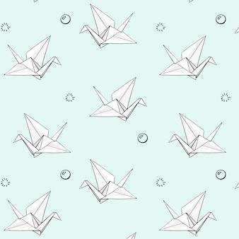 Conjunto de vetores de padrão de origami de mão desenhada