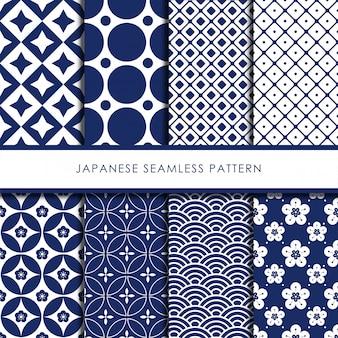 Conjunto de vetores de padrão sem costura japonesa