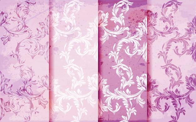 Conjunto de vetores de padrões damasco rosa, decoração de ornamentos barrocos
