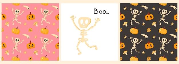 Conjunto de vetores de padrões e pôsteres para o dia das bruxas com um esqueleto engraçado abanando a inscrição.