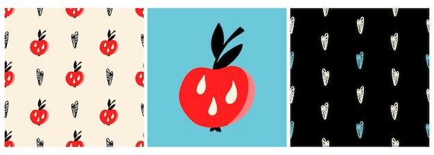 Conjunto de vetores de padrões e um pôster com uma maçã vermelha e corações em um estilo simples