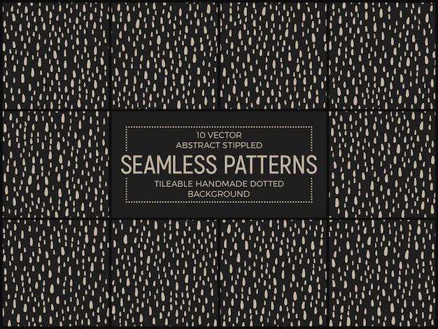 Conjunto de vetores de padrões sem costura retrô stippled