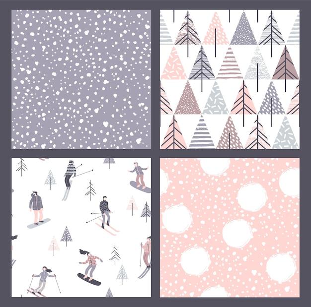Conjunto de vetores de padrões sem emenda de inverno com neve, esquiadores e snowboarders. textura desenhada à mão na moda.