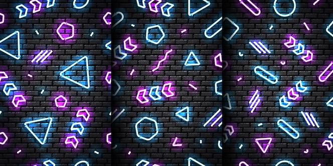 Conjunto de vetores de padrões sem emenda de néon isolados realistas com cores azuis e roxas