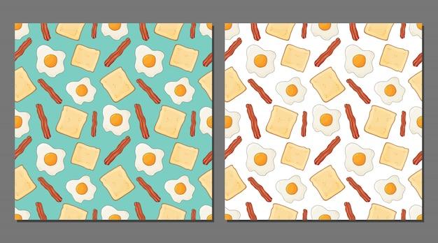 Conjunto de vetores de padrões sem emenda de ovos fritos para embalagens de alimentos saudáveis